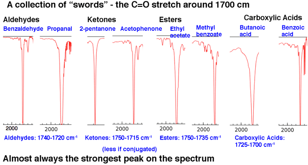 collection of c o stretches around 1700 for aldehydes ketones esters carboxylic acids
