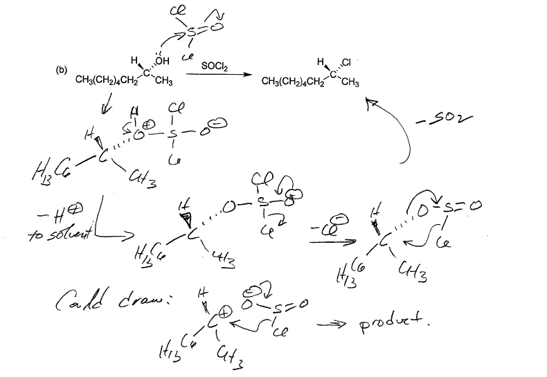 example of secondary alcohol with socl2 in abnsence of pyridine giving retention of configuration