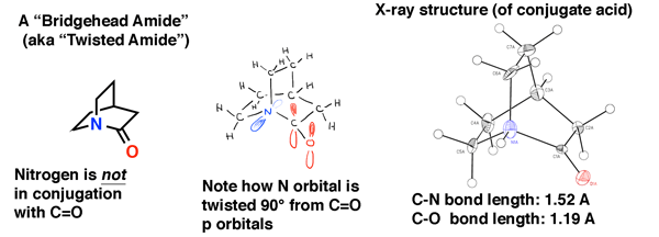 bridgehead-amide-not-in-conjugation-with-carbonyl-nitrogen-twisted-90-from-co-orbitals-note-x-ray-structure