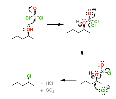 conversion of alcohols to alkyl chlorides with inversion using socl2 no pyridine so is this right or not