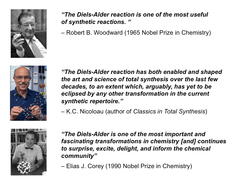 quotes from famous practitioners of the diels alder reaction robert b woodward k c nicolau e j corey