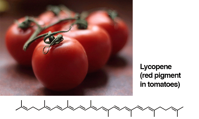 tomatoes with picture of lycopene pigment