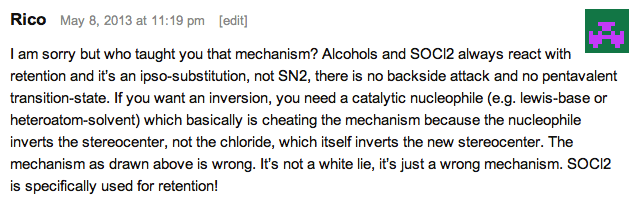 moc blog comment in 2013 saying secondary alcohols are not converted to alkyl chlorides with inversion but retention due to sni internal return