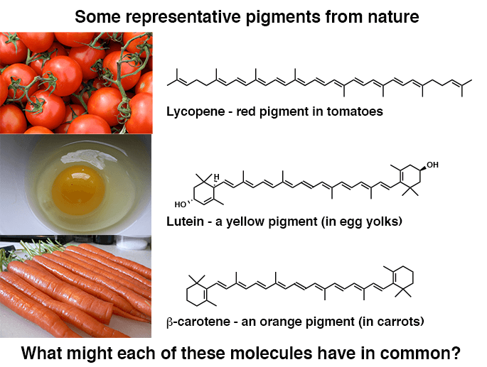 representative pigments from nature lycopene tomatoes lutein yellow egg yolks carotene orange carros each are highly conjugated molecules