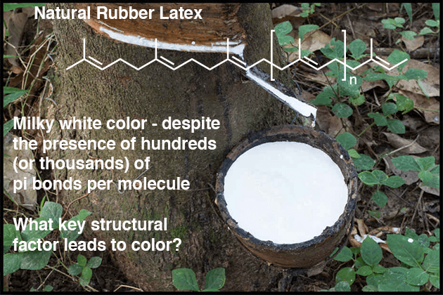 natural rubber latex has hundreds or thousands of pi bonds per molecule is a white color because double bonds not conjugated