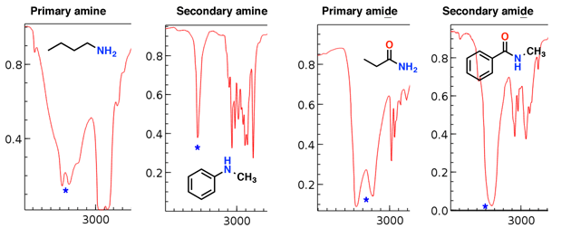 examples of amine stretches in ir primary secondary and primary amide secondary amide