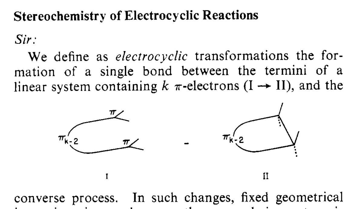 Woodward definition of electrocyclic